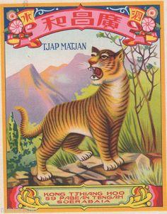Vintage Chinese Macau Tiger Brand Firecracker Labels