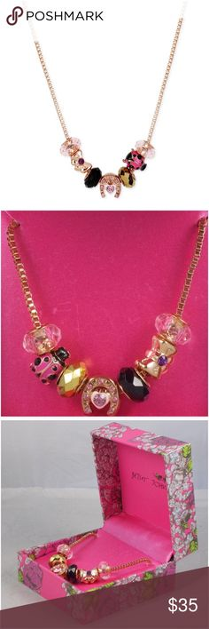 """BETSEY JOHNSON Rose Ladybug Sliding Charms Neckace NWT BETSEY JOHNSON stunning rose gold tone box chain goodluck sliding charms necklace.  Charms include faceted pink, black & bronze beads, pink & black enamel ladybug w/crystal accents, horseshoe w/pink set crystals & enamal heart w/pink crystal heart center, and a rose goldtone bow with purple crystal center.  *16"""" long w/3"""" extender *Lobster claw closure *Comes in Betsey gift box  CLOSET RULES: Bundle Discounts * No Trades * Smoke free…"""