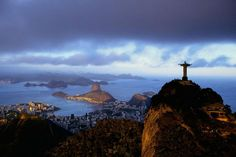 The Corcovado overlooking the city of Rio de Janeiro, Brazil; by aerial photographer, Yann Arthus-Bertrand.