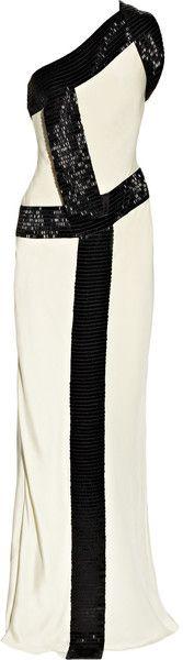 AMANDA WAKELEY ENGLAND Bead-trimmed Silk-cady One-shoulder Gown