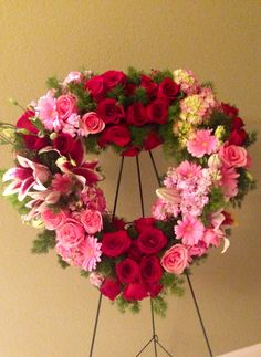 Pink and red rose wreath