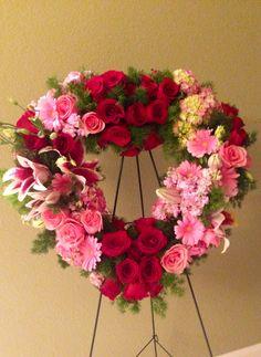 Pink and red rose wreath Funeral Arrangements, Flower Arrangements, Casket Sprays, Sympathy Flowers, Heart Wreath, Funeral Flowers, Red Roses, Floral Wreath, Wreaths