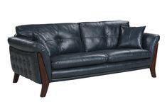 Alejandro Mid-Century Modern Italian Leather Tufted Living Room Sofa