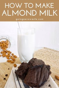 This recipe for almond milk only calls for 3 simple ingredients. Have you tried making your own almond milk? Make Almond Milk, Almond Milk Recipes, Homemade Almond Milk, Herb Recipes, Vegan Recipes Easy, Real Food Recipes, Dairy Free Mashed Potatoes, Vegan Green Bean Casserole, Raw Brownies