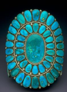 Turquoise Bracelet, creator: Ondelacy [Navajo] /  National Gem Collection, Smithsonian National Museum of Natural History