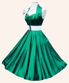 50s Halterneck - Dark Green Satin swing Dress from Vivien of | 1950s Dresses from Vivien of Holloway