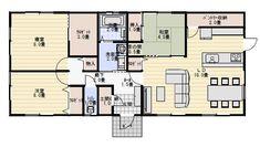 和室がリビングに隣接する平屋の間取り図 | 平屋間取り