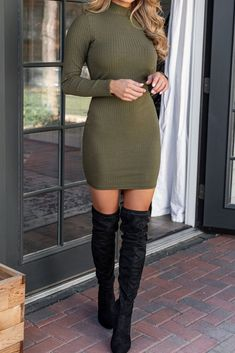Mona Olive Ribbed Mock Neck Bodycon Dress by Priceless. The ultimate winter date night outfit idea! This bodycon ribbed dress goes great with black thigh highs and the mock neckline will still keep you warm this winter. Casual Date Night Outfit, Winter Date Night Outfits, Date Night Fashion, Winter Dress Outfits, Date Night Dresses, Night Out Outfit, Black Bodycon Dress Outfit, Bodycon Outfits, Sexy Outfits