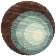 Momeni New Wave 82 Teal Contemporary Round Wool Rug - NW-82TEL