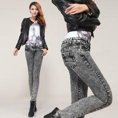 2014 Korean Style Women's Jeans Brand Pencil Blue Pants Lady Trendy Trousers Cotton Denim Fashion Skinny Jeans Woman Brand 6996 $23.50