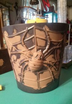 Spider in Web flower pot, unique! Royal Haeger