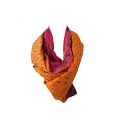 Vintage sari scarf - Pink and yellow   Aniika ❤ liked on Polyvore featuring accessories, scarves, vintage shawl, yellow scarves, pink scarves, pink shawl and yellow shawl