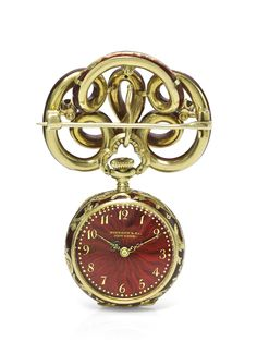 Tiffany, New York A YELLOW GOLD ENAMEL AND DIAMOND-SET OPEN-FACED KEYLESS WATCH WITH BROOCH NO 109441 CIRCA 1899 • jewelled nickel lever movement, bi-metallic compensation balance • 18k yellow gold engraved cuvette • red translucent enamel dial over a fine guilloché background, Arabic numerals • the case with diamond-set fleur-de-Lys decoration on a red translucent enamel over a guilloché background • case, dial, movement and cuvette signed • with a matching yellow gold scrolling brooch