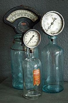 Industrial Gauges + Bottles = awesome