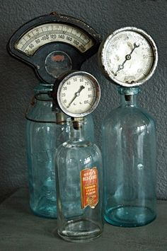 Industrial Gauges + Bottles = awesome