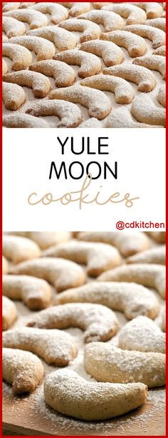 Yule Moon Cookies - A classic Christmas cookie in the shape of a crescent moon. Sprinkle with powdered sugar or ice with the included recipe for vanilla glaze. Made with butter, sugar, lemon peel, salt, flour, almonds, vanilla extract, , confectioners' sugar, water | CDKitchen.com