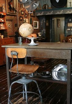 I would love to find some of these old industrial-style chairs for our kitchen island!