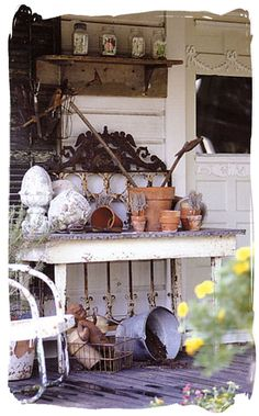 Potting table on the porch. Garden Table, Garden Pots, Garden Sheds, Rustic Gardens, Outdoor Gardens, Outdoor Rooms, Outdoor Decor, Outdoor Life, Shed With Porch