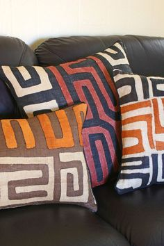 African Kuba Cloth Pillows - Fair Trade Gifts Handmade in Africa - Swahili Modern - 9