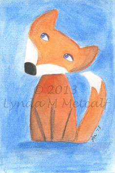 Fox Painting Original 4x6 Watercolor Painting by LyndaMMetcalf, $12.00