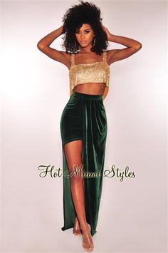 b6fb5e0a929b Emerald Velvet Slit Maxi Skirt
