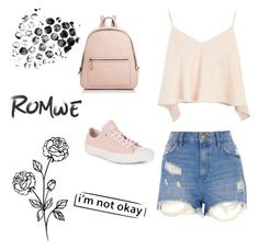 """""""Romwe #2"""" by samra14hasic ❤ liked on Polyvore featuring Topshop, River Island, Kate Spade and Converse"""