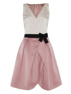 Brooke dress by Alice Temperley - White sleveless top with V neck, pleated and scalloped light pink short skirt, black belt with bow, perfect for rehersal dinner or bridesmaids