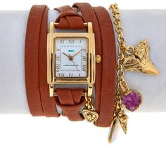 La Mer Goldtone Charm and Chain Tobacco Leather Wrap Watch