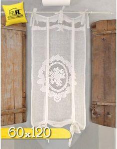 Tenda finestra Ricamata Shabby Chic 60 x 120 Colore Ecru Blanc Mariclo