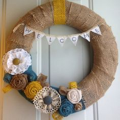 Spring Burlap Wreath Welcome Banner with Blue and Yellow Flowers by MalloryMiscellaneous, $35.00