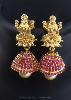 Imitation Ruby Jhumka Designs, Gold Plated Ruby Jhumka Designs.