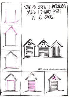 Draw bathing boxes step by step - they are also called beach huts and beach boxes.