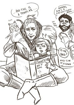 "noctuaalba: ""inspired by mydadisindianajones​ dragon age dads post silly quick midnight doodles :D """