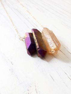 Raw+Crystal+Necklace+Crystal+Point+Necklace+Boho+Gypsy+by+LovGeo,+kr202.00