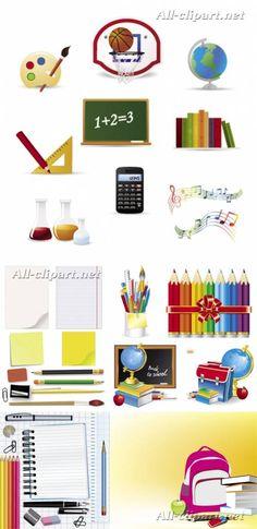 Школьные предметы и принадлежности - векторный клипарт   Back to school vector
