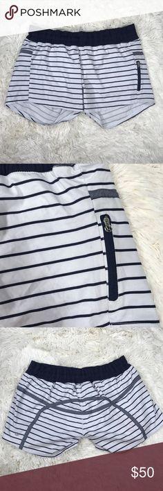 Lululemon Striped Shorts Lululemon Striped Shorts Size: 10 color: black white Box…/ 16 Pocket on side lululemon athletica Shorts