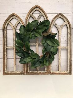 If you've been looking for rustic wood home decor, you will love our wooden window frames! Our farmhouse style cathedral window frames will be the perfect farmhouse wall decor for your home! Cathedral Windows, Church Windows, Wood Windows, Cathedral Mirror, Windows Image, Sash Windows, Arched Wall Decor, Window Wall Decor, Window Mirror