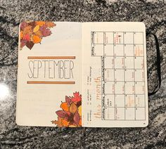 throwback to september when i had the motivation to actually make a calendar. luckily i can still continue the fall theme :) • • • #bulletjournal #bujo #bujomonthlyspread