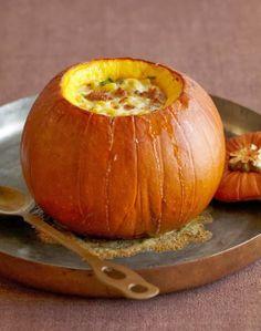 Over a Tuscan Stove; pumpkin stuffed with sausage, macaroni, fontina, & herbs.