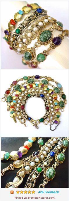 5 Gold Tone Link Bracelets Lot, Gemstones, Art Glass, Gold Filled, Designer Signed, Vintage #5bracelets #lotof5 #gemstone #goldfilled #krementz https://www.etsy.com/RenaissanceFair/listing/537116375/5-gold-tone-link-bracelets-lot-gemstones?ref=listings_manager_grid  (Pinned using https://PromotePictures.com)