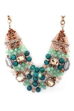 Capri Necklace in Teal Agate and Crystal