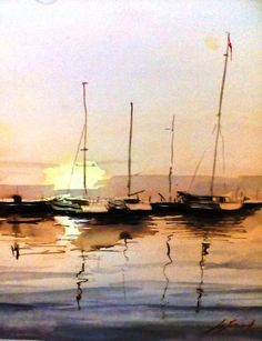 ,,boats,, watercolor artist: momchil gergov / Bulgaria /