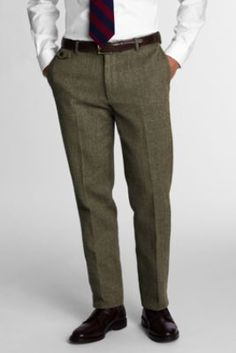 Men's Plain Front Tailored Fit Herringbone Trousers from Lands' End  #WishPinWin $99.99