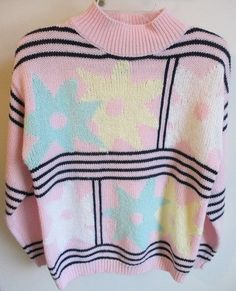 Retro vintage sweater on auction in our eBay store  Fairy Kei Kawaii Pastel Vintage 80's Sweater Pink Yellow Green Flowers Lolita #16thStreet #TurtleneckMock #fairy #kei #kawaii #harajuku #pastel #80s #90s #sweater #flowers #floral #pastel #pink #yellow #baby #retro #vintagefashion