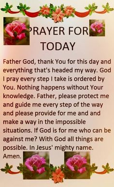God is with me and guiding every step I take. Bible Verse Memorization, Prayer Scriptures, Faith Prayer, God Prayer, Prayer Quotes, Biblical Quotes, Sunday Prayer, Good Morning Prayer, Morning Prayers