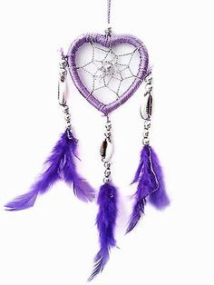 Purple Dream Catcher with Angel Wings | Double Heart Dream Catcher W Feathers Wall Hanging Decoration Ornament