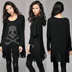 Punk Rock loose tassel tops batwing long sleeve skull heads print women T shirt fashion Europe Fashion casual style Hot Selling