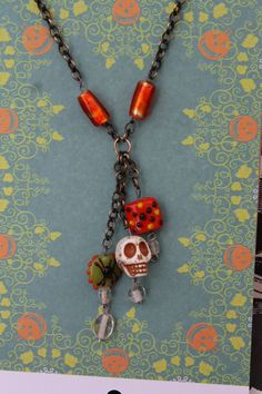 Halloween Chain Necklace with Glass Beads, Skull, Jewelry Handmade for Fall Season. $45.00, via Etsy.