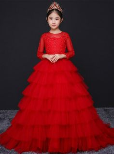 Silhouette:a-line Hemline:floor length Neckline:scoop Fabric:tulle Sleeve Style:long sleeve Color:red Back Style:zipper up Embellishment:appliques Little Girl Gowns, Gowns For Girls, Frocks For Girls, Little Girl Dresses, Girls Dresses, Girls Frock Design, Kids Frocks Design, Kids Party Wear Dresses, African Dresses For Kids