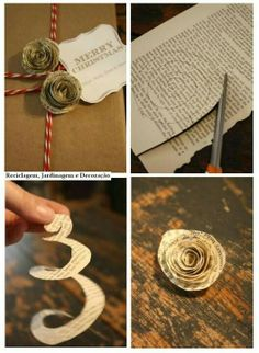 newspaper flower- great addition on a gift or to make ornaments out of  :)